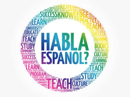 Habla Espanol? (Speak Spanish?) Word cloud, education business concept Vektorgrafik