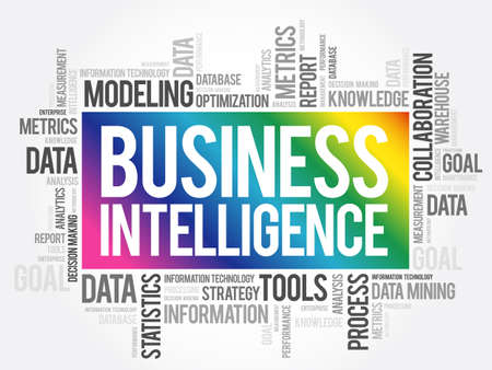 Business intelligence word cloud collage, business concept background