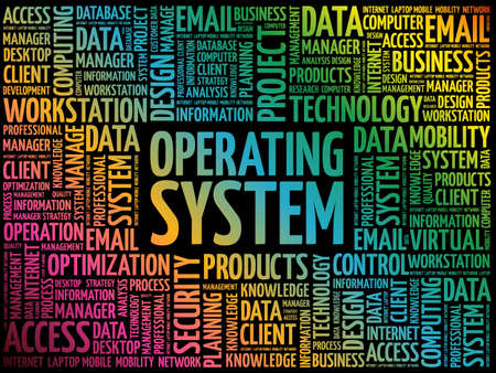 Operating System word cloud, technology concept background