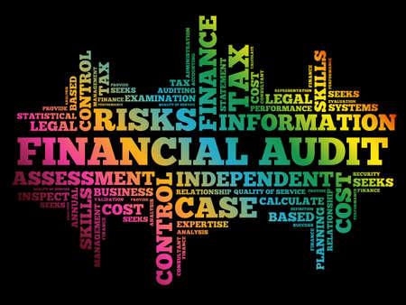 Financial Audit word cloud collage, business concept background Stock Illustratie