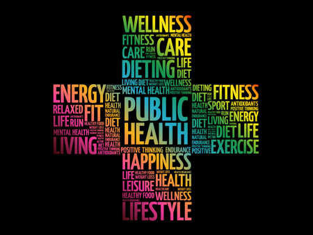 Public Health word cloud, health cross concept background Vectores