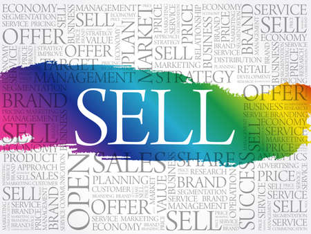 SELL word cloud collage, business concept background 일러스트