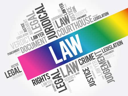 Law word cloud collage, concept background Illusztráció