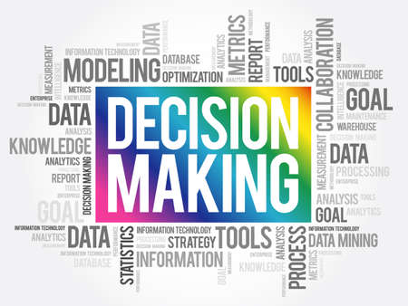 Decision Making word cloud, business concept