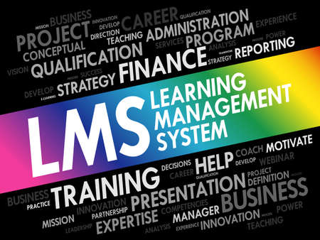 Word cloud of Learning Management System (LMS) related tags, business concept