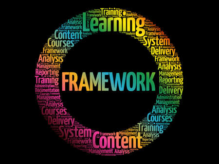 Framework circle stamp word cloud, business concept