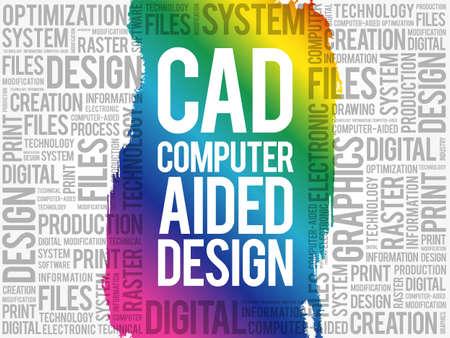 CAD - Computer Aided Design word cloud, business concept background Illusztráció