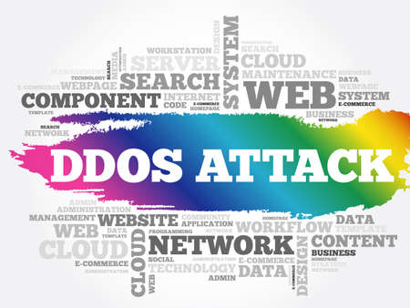 DDOS Attack word cloud collage, business concept background
