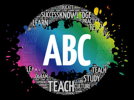 ABC word cloud collage, education concept background