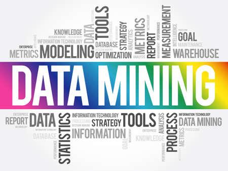 Data Mining Technology Strategy word cloud, business concept Ilustración de vector