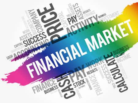 Financial market word cloud collage, business concept background Illusztráció