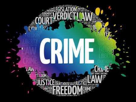 Crime circle word cloud, law concept background