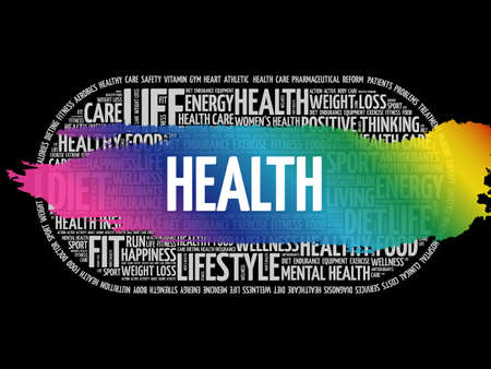 Health word cloud collage, fitness, health concept