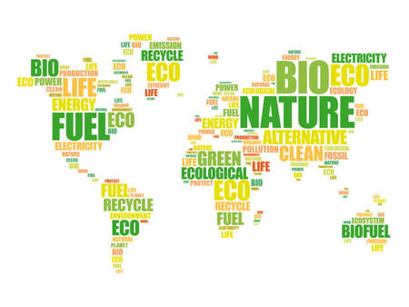 Ecology theme World Map in Typography word cloud, conceptual background