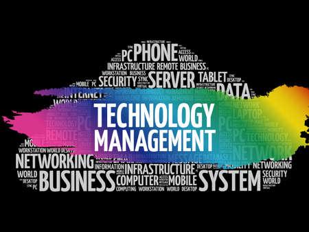 Technology Management word cloud, business concept Illusztráció
