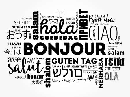 Bonjour (Hello Greeting in French) word cloud in different languages of the world, background concept Çizim