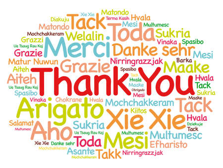 Thank you word cloud in different languages, concept background