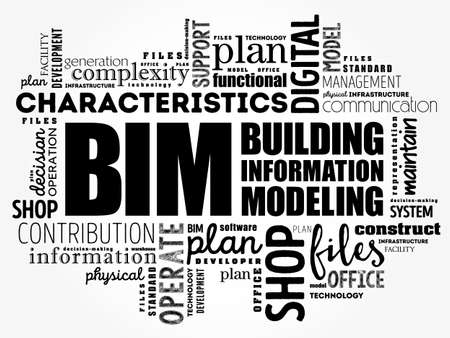 BIM - building information modeling word cloud, business concept Vecteurs