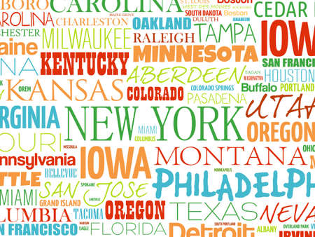 USA cities names word cloud collage, concept background