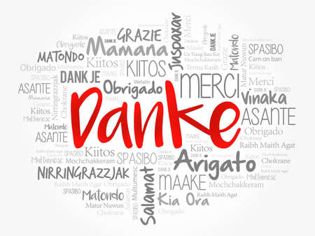 Danke (Thank You in German) word cloud background in different languages Vector Illustration
