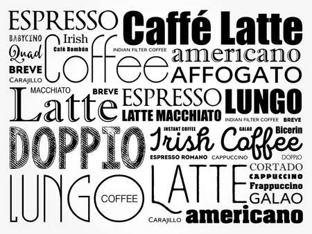 List of coffee drinks words cloud collage, poster background 向量圖像