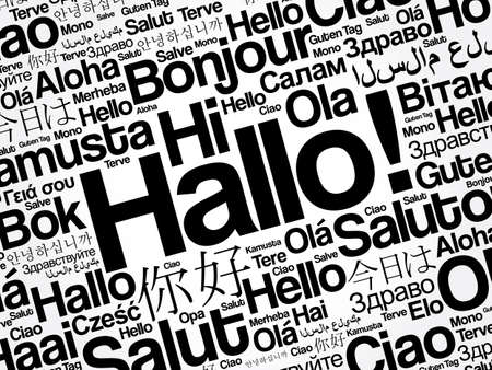 Hallo (Hello Greeting in German) word cloud in different languages of the world Vettoriali