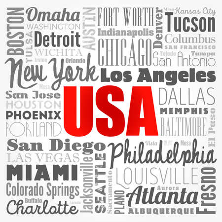 USA cities names words cloud collage, concept background