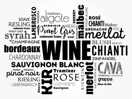 WINE VARIETALS Types word cloud collage, concept background Vettoriali