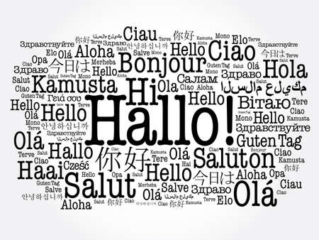 Hallo (Hello Greeting in German) word cloud in different languages of the world Çizim