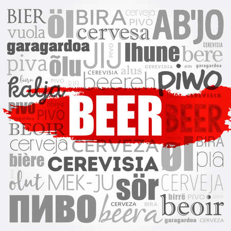 BEER in different languages of the world (english, french, german, etc) Word Cloud collage, multilingual background