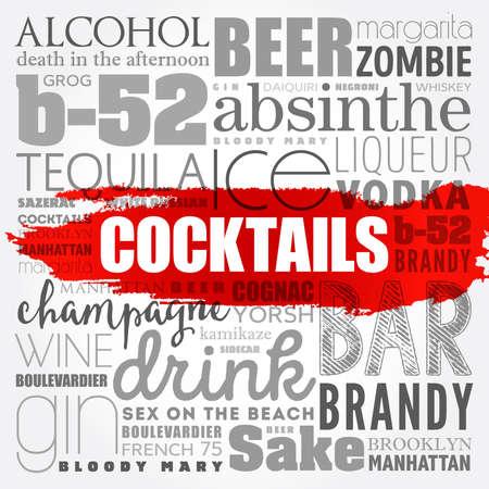 Different cocktails and ingredients, word cloud collage, design concept background Ilustración de vector