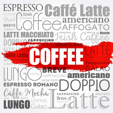 List of coffee drinks words cloud, poster background 向量圖像