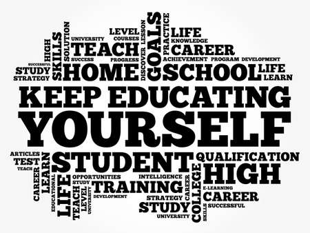 Keep Educating Yourself word cloud collage, education business concept background 向量圖像