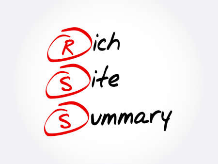 RSS - Rich Site Summary acronym, internet concept background