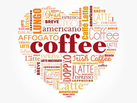 List of coffee drinks composed in love sign heart shape, words cloud collage, poster background 向量圖像