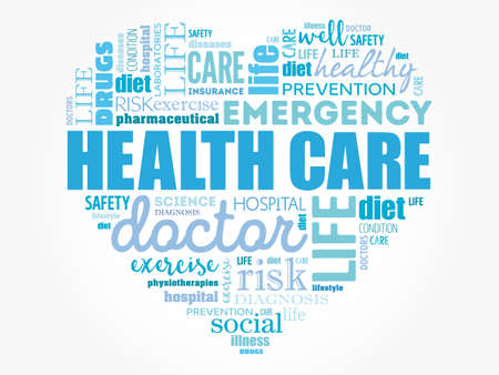 HEALTH CARE heart word cloud, fitness, sport, health concept