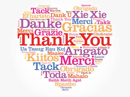 Thank You Love Heart Word Cloud in different languages, concept background Vektorgrafik