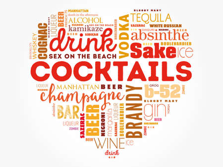 Love heart with Different cocktails and ingredients, word cloud collage, design concept background