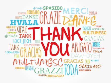 Thank You Word Cloud background, all languages, multilingual for education or thanksgiving day Vector Illustration