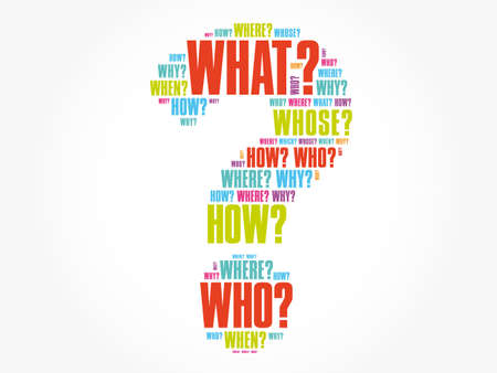 Question mark - Questions whose answers are considered basic in information gathering or problem solving, word cloud background Vettoriali