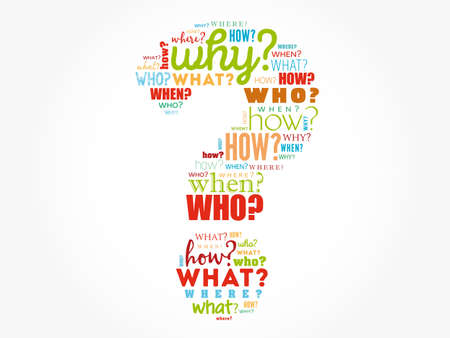 Question mark - Questions whose answers are considered basic in information gathering or problem solving, word cloud background Vektorgrafik