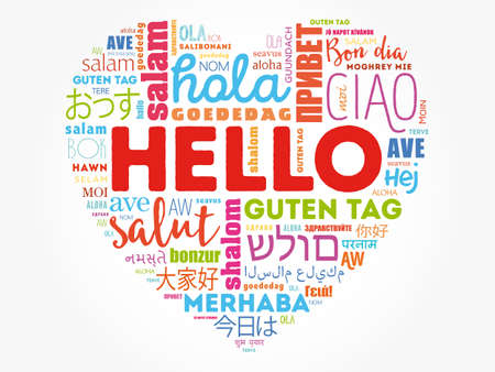 Hello Heart word cloud in different languages of the world, background concept Çizim