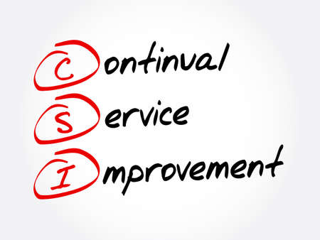 CSI - Continual Service Improvement acronym, business concept background Иллюстрация