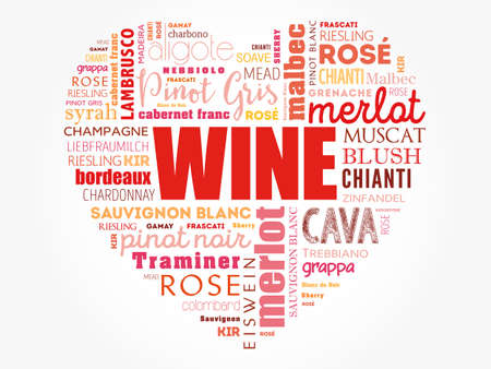WINE VARIETALS Types love heart word cloud collage, concept background Vettoriali