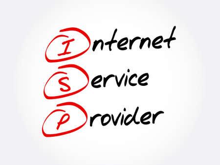 ISP - Internet Service Provider acronym, technology concept background Illusztráció