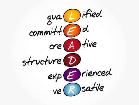 LEADER - Qualified, Committed, Creative, Structured, Experienced, Versatile acronym, business concept background Stock Illustratie