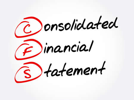 CFS - Consolidated Financial Statement acronym, business concept background Vektorové ilustrace