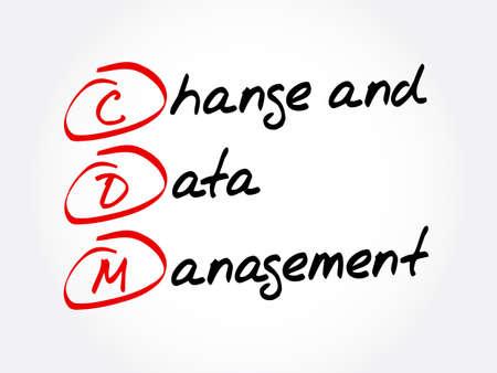 CDM - Change and Data Management acronym, business concept background Vettoriali
