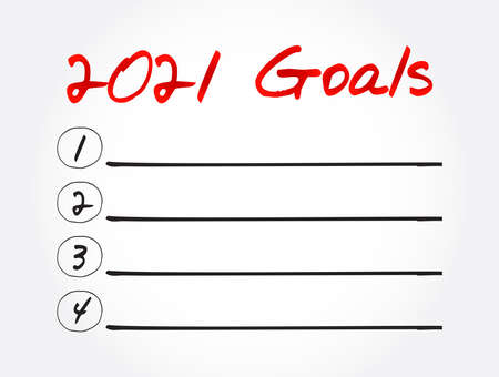 2021 Goals List, business, sport and health concept background