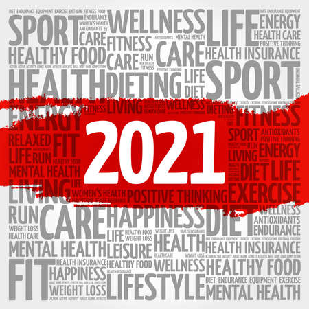 2021 health and sport goals word cloud, concept background Vettoriali